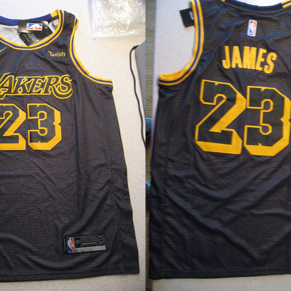 huge discount aa8f5 6e291 Lebron James Lakers Black Swingman Wish Jersey NWT